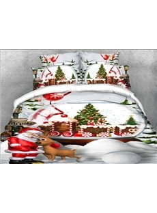 Happy Santa Claus And Christmas Reindeer 3D Printed 5-Piece Soft Polyester Comforter Sets
