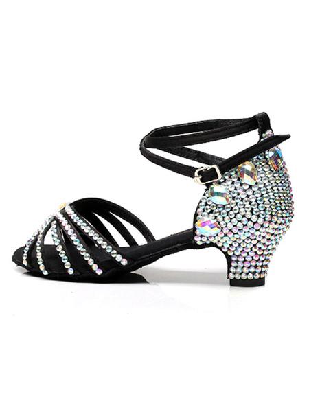 Milanoo Zapatos de baile latino Zapatos de baile de salon con punta abierta de color negro con diamantes de imitacion