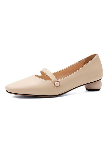 Milanoo Square Toe Low Heels Academic Special-Shaped Heel Pumps Women Shoes