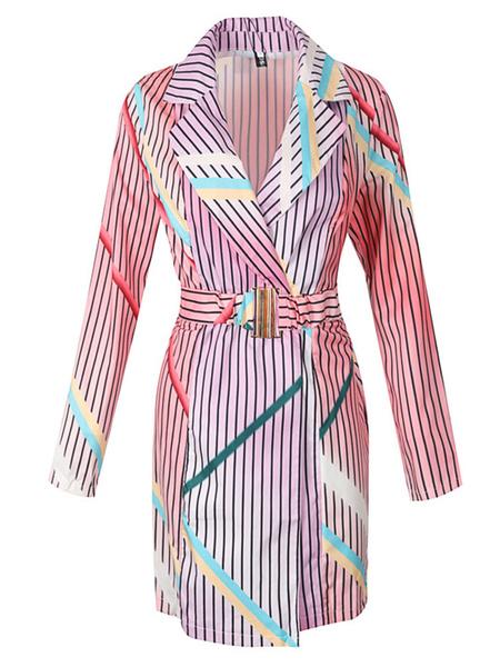 Milanoo Women Blazer Stylish Turndown Collar Metal Details Long Sleeves Stripes
