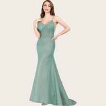 Backless Bustier Floor Length Prom Dress