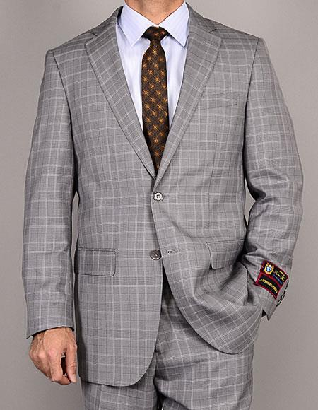 Men's Two Buttons Plaid Giorgio Fiorelli Brand suits Flat Front Pants