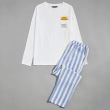 Men Slogan Graphic Pocket Patched Top & Striped Pants PJ Set