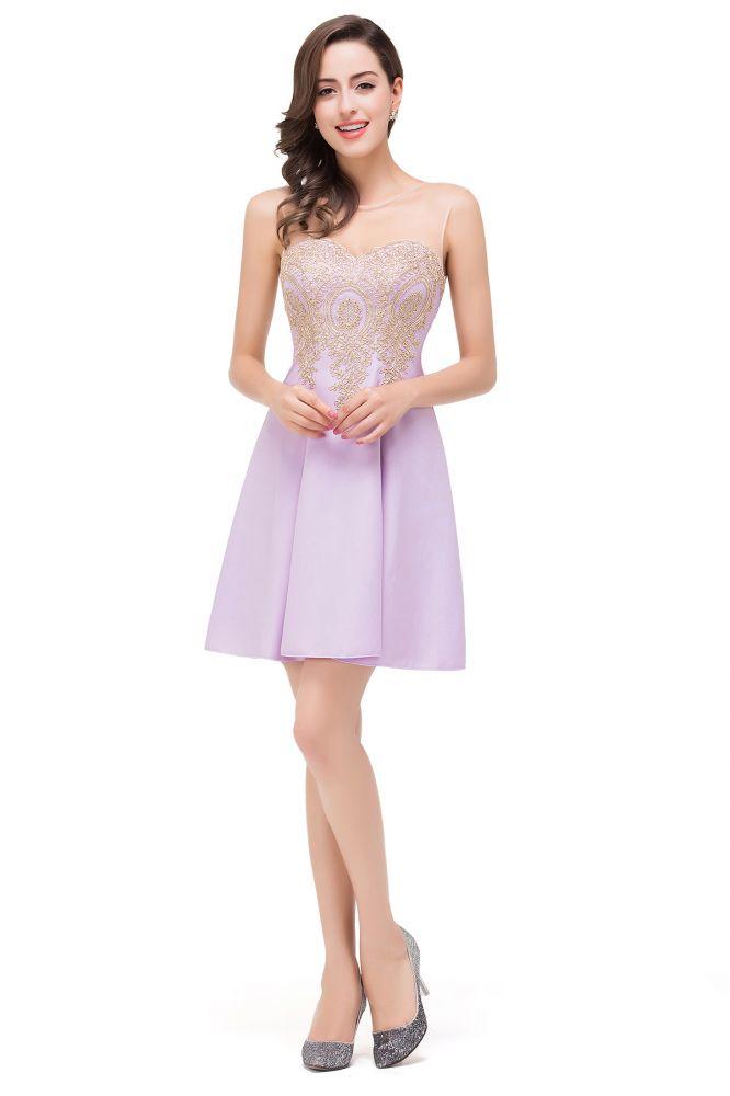 ESTHER | Vestidos de baile cortos de gasa sin mangas de una linea con apliques