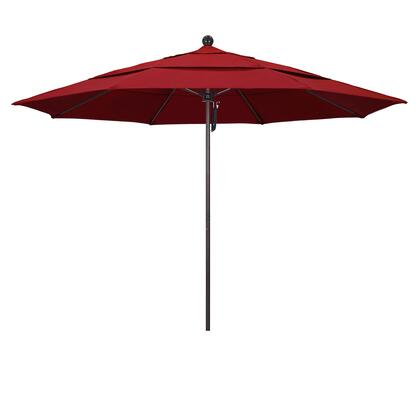 ALTO118117-SA03-DWV 11' Venture Series Commercial Patio Umbrella With Matted White Aluminum Pole Fiberglass Ribs Pulley Lift With Pacifica Red