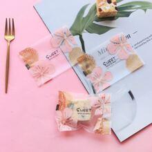 100pcs Flower Print Baking Package Sealing Bag