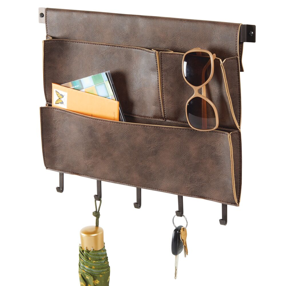 Leather Entryway Wall Mount Storage Organize with Hooks in Bronze/Brown, 1