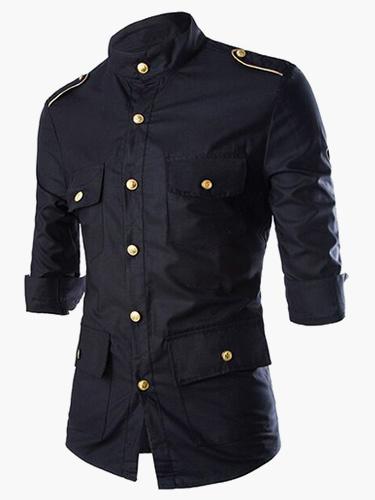 Milanoo Camiseta de Hombres 2020 Casual Boton Bolsillo Collar de muesca 3/4 Manga Negro Camiseta Algodon