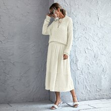 Solid Pointelle Knit Sweater & Knit Skirt
