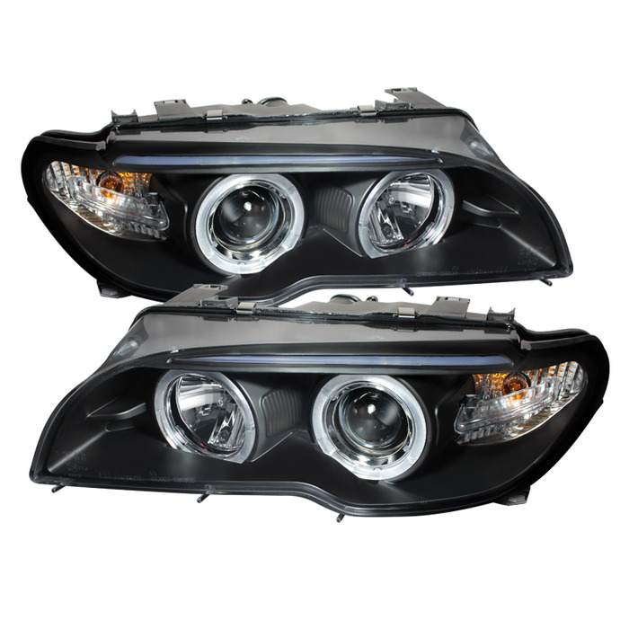 Spyder Auto PRO-YD-BMWE4604-2DR-HL-BK Black LED Halo Projector Headlight with High H1 and Low H7 Lights Included BMW E46 325Ci 2Dr with Halogen Lights