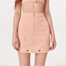 Zip Up Garment Eyelets Denim Skirt