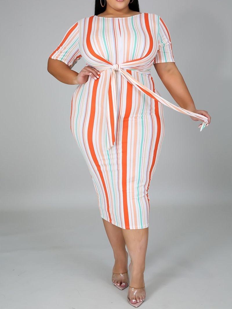 Ericdress Print Mid-Calf Short Sleeve Regular Mid Waist Dress