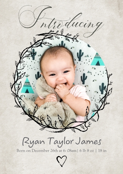 Baby Announcements Set of 20, Premium 5x7 Foil Card, Card & Stationery -Introducing Circle Frame