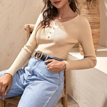 Solid Button Detail Scoop Neck Sweater