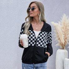 Contrast Checkered Drawstring Hooded Windbreaker Jacket