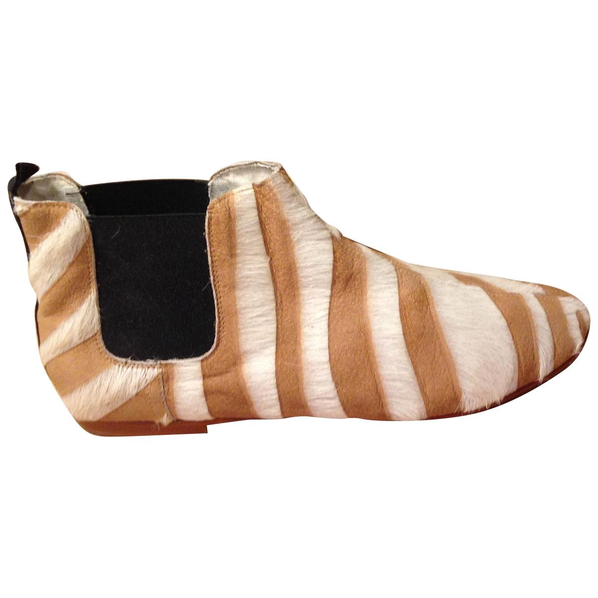 - Boots   pour femme en veau facon poulain - camel