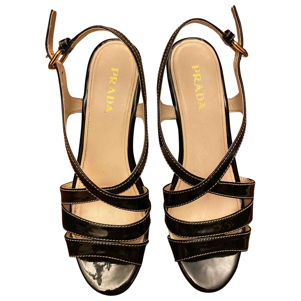 Prada \N Black Leather Sandals for Women 38 EU
