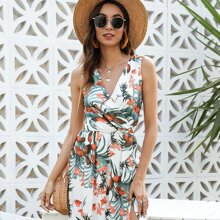 Kleid mit tropischem Muster, Band hinten und Schlitz