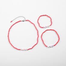 3pcs Girls Letter Decor Beaded Necklace & Bracelet & Anklet