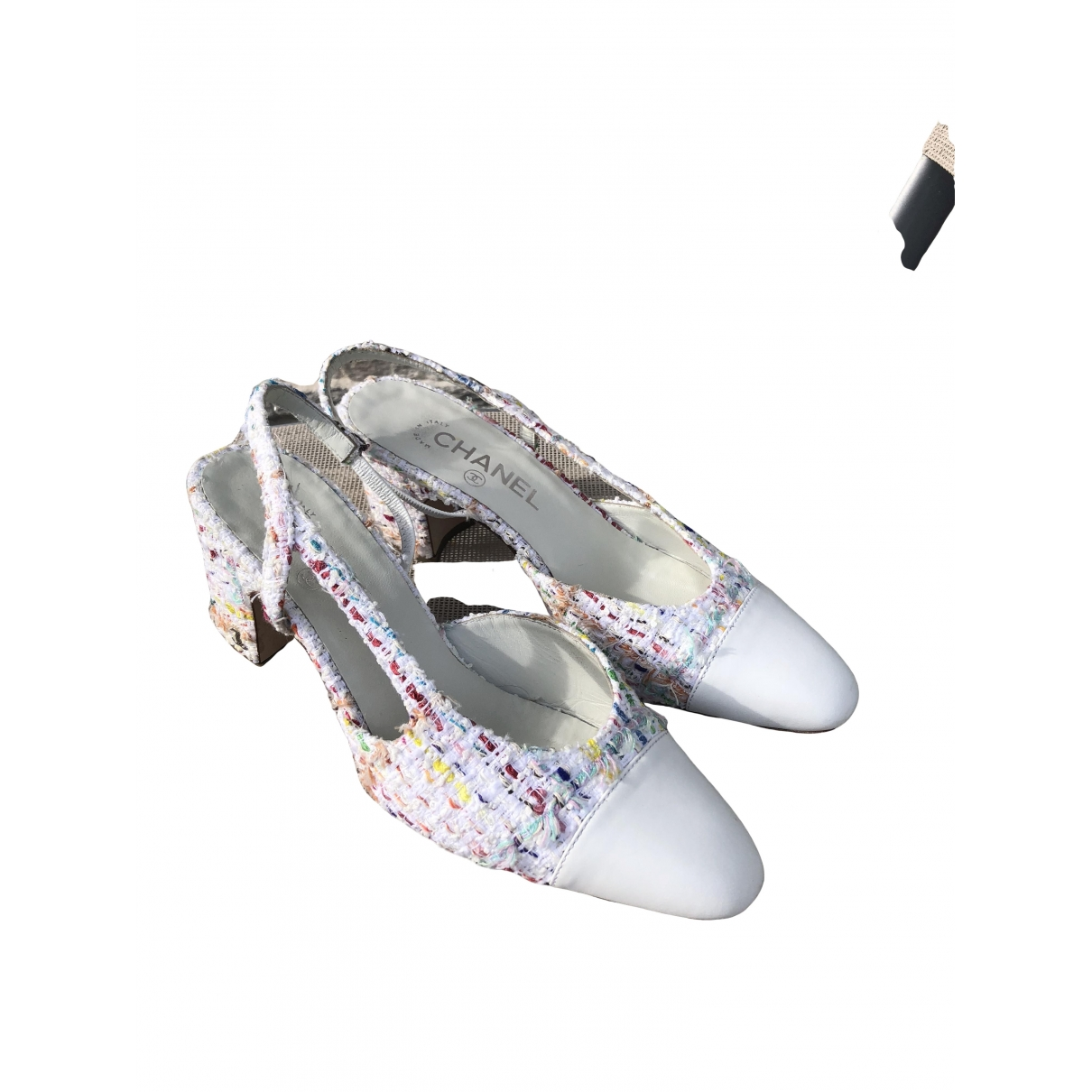 Chanel Slingback White Leather Heels for Women 37.5 EU