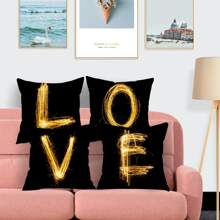 1pc Letter Graphic Cushion Cover Without Filler