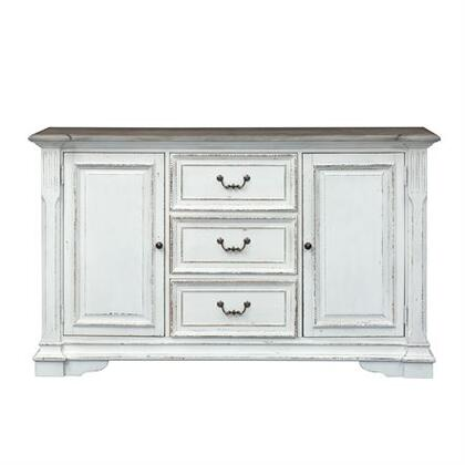 Abbey Park Collection 520-CB6640 Buffet with Blocked Feet  Antiqued Mirror Inserts and Antique Pewter Bail & Drop Ring Hardware in Antique White