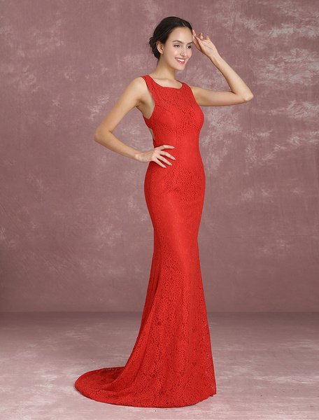 Milanoo Mermaid Evening Dresses Lace Long Prom Dresses Red Sleeveless Criss Cross Back wedding guest dress Party Dress With Train