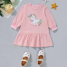 Vestido smock con estampado de unicornio