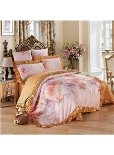 Peonies Printed and Golden Edge 6-Piece Cotton Sateen Bedding Sets/Duvet Cover