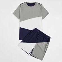 Men Color Block Tee & Track Shorts