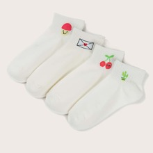 4 Paare Socken mit Karikatur Grafik