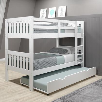 1010-3TTW_503-W Twin/Twin Mission Bunk Bed W/Twin Trundle Bed in White