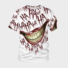 Camiseta de hombres con estampado de labio y letra