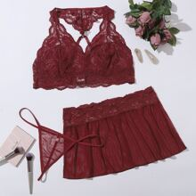 3pack Plus Floral Lace Lingerie Set With Mesh Skirt