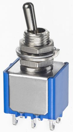 APEM DPDT Toggle Switch, (On)-Off-(On), Panel Mount