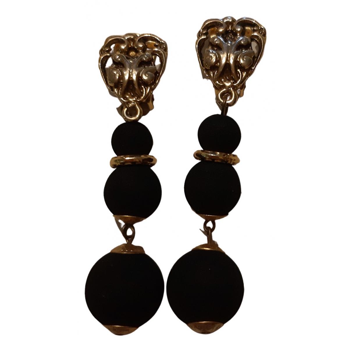 - Boucles doreilles Art Deco pour femme en metal - noir