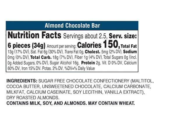 Sugar Free Almond Chocolate Bars 12 Pk