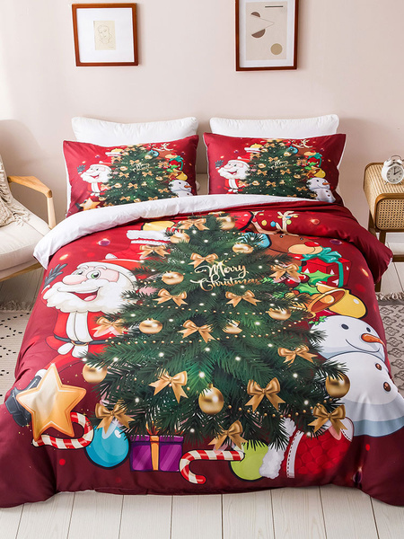 Milanoo Bedding Set 3-Piece Polyester Fiber Christmas White Beddingroom Supplies