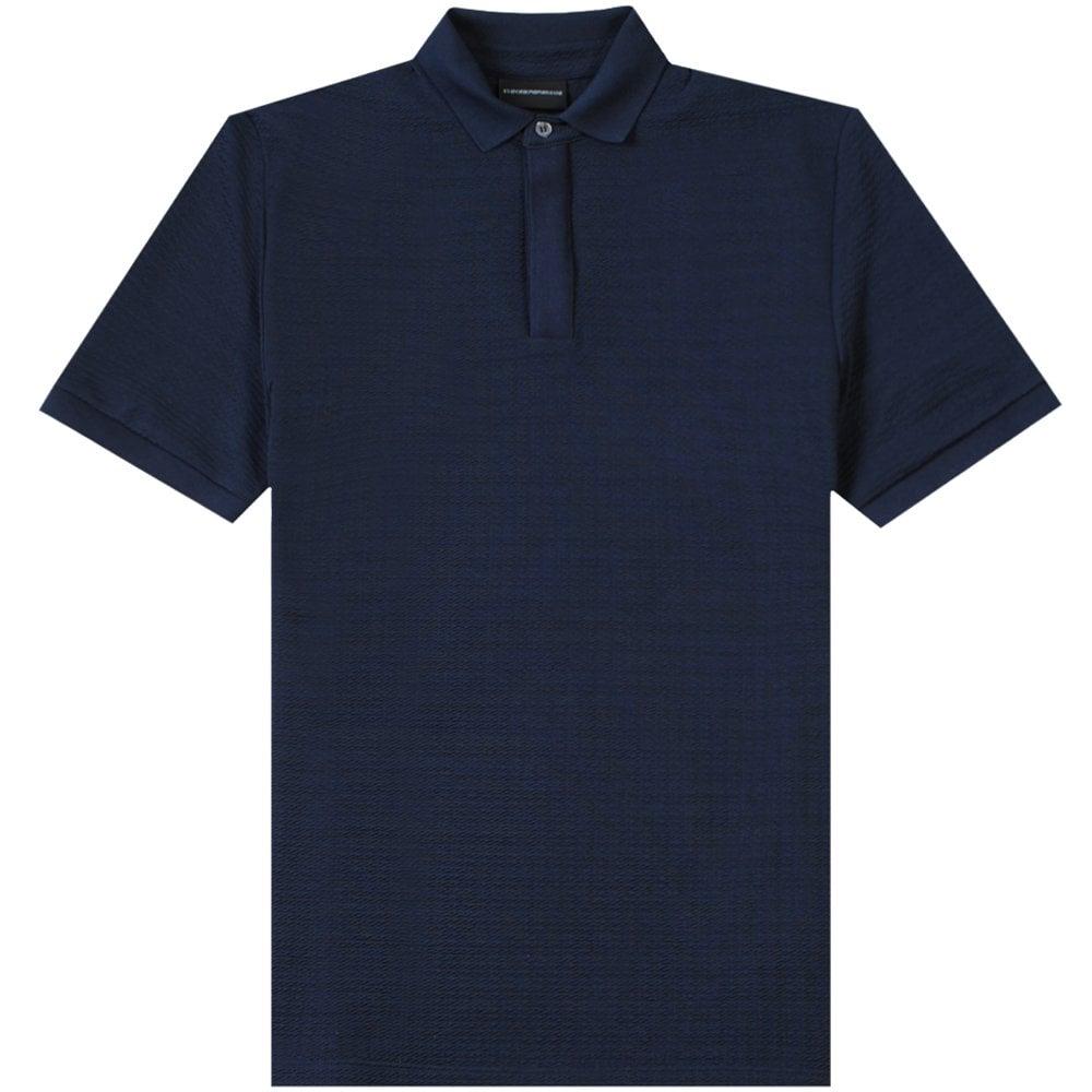 Emporio Armani Textured Polo Shirt Navy Colour: NAVY POLO, Size: EXTRA EXTRA LARGE