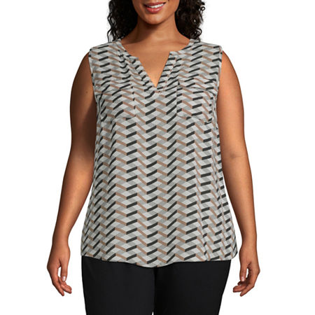 Worthington Womens Popover Tank - Plus, 0x , Brown
