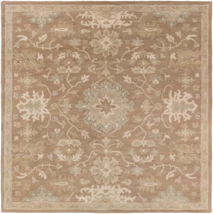 Caesar CAE-1149 6' Square Traditional Rug in Camel  Medium Grey  Light Grey  Sage
