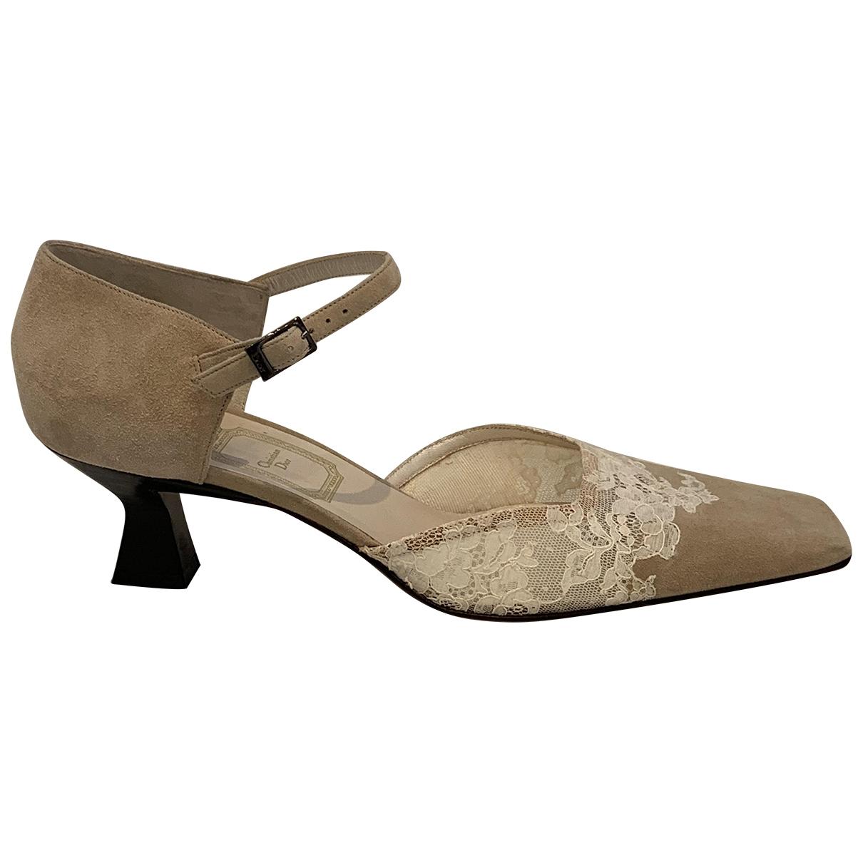 Dior - Derbies   pour femme en suede - beige