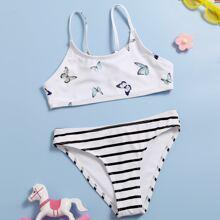 Bañador bikini de niñas con estampado de rayas con mariposa