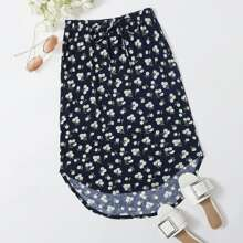 Plus Knot Waist High Low Curved Hem Daisy Floral Skirt