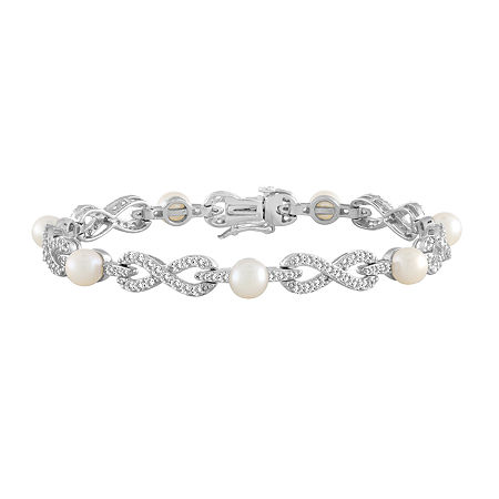 Womens 7 1/2 Inch Cultured Freshwater Pearl Sterling Silver Tennis Bracelet, One Size , No Color Family