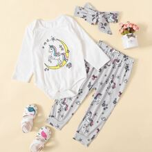 Baby Girl Cartoon Graphic Tee Bodysuit & Sweatpants & Headband