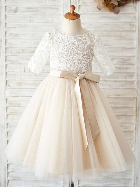 Milanoo Flower Girl Dresses Jewel Neck Half Sleeves Sash Kids Social Party Dresses