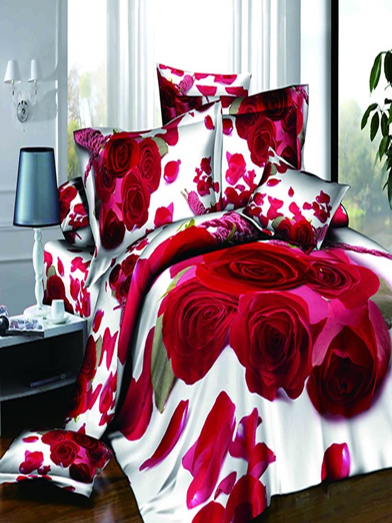 Vivilinen 3D Red Roses with Petals Printed Cotton 4-Piece Bedding Sets/Duvet Cover