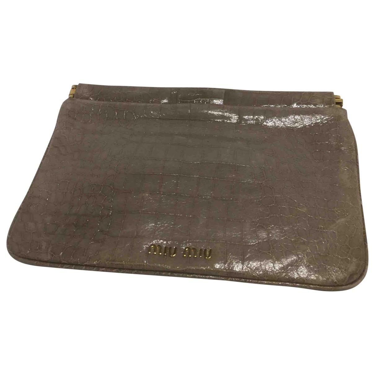 Miu Miu \N Grey Patent leather Clutch bag for Women \N