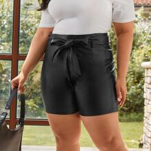 Plus PU Leather Belted Shorts